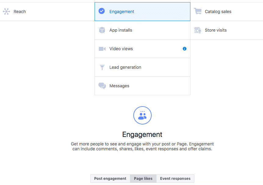 Facebook engagement Ad first step