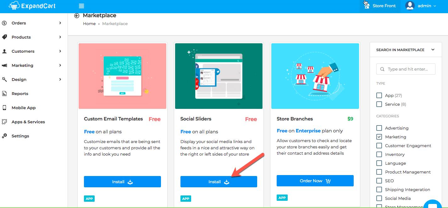 Install ExpandCart social media slider