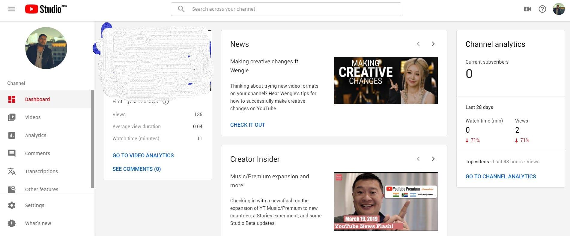 YouTube Studio Beta