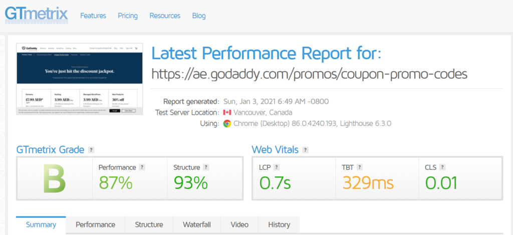 increase store sales-test speed-gtmetrix