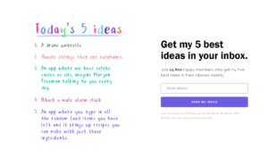 An example of digital products: a website that generates business ideas every day