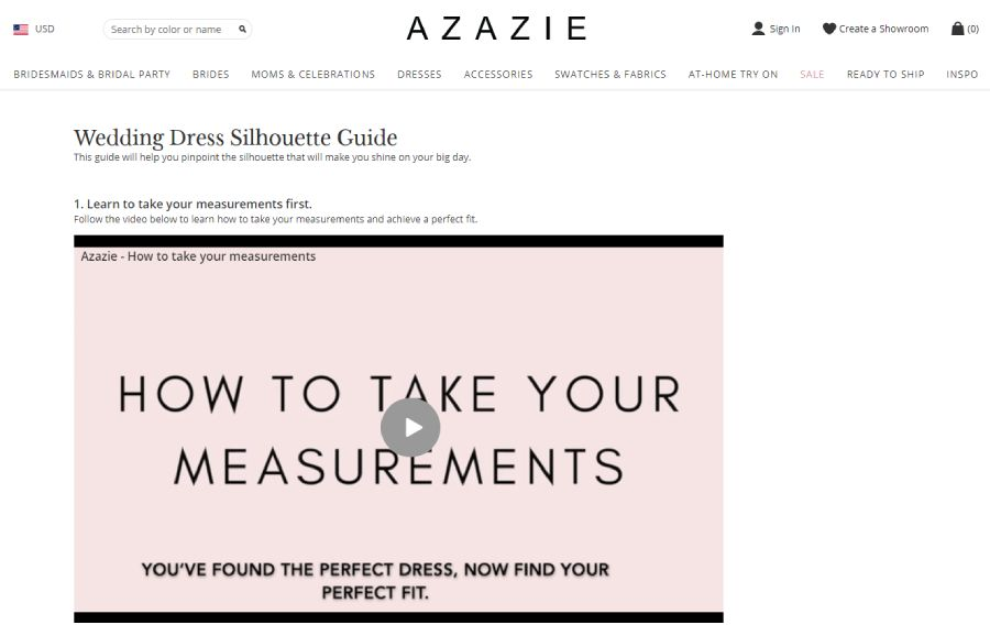 Using how-to content by Azazie website
