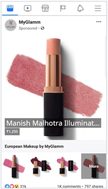 Facebook Remarketing Examples: MyGlamm