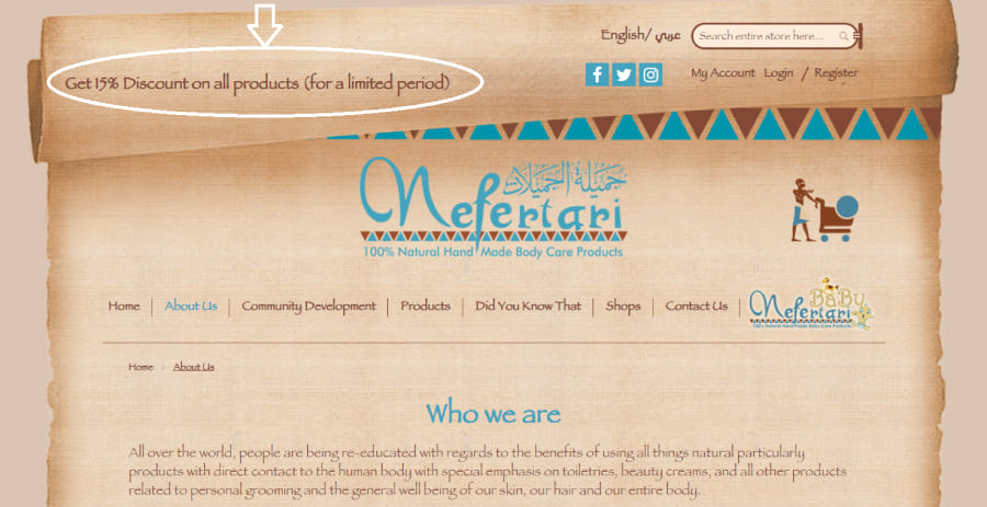 Example of CTA from Nefertari eCommerce website