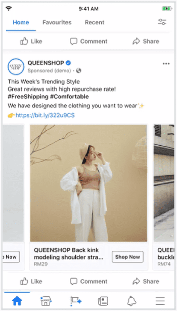 Facebook Remarketing Campaign Examples: QUEENSHOP