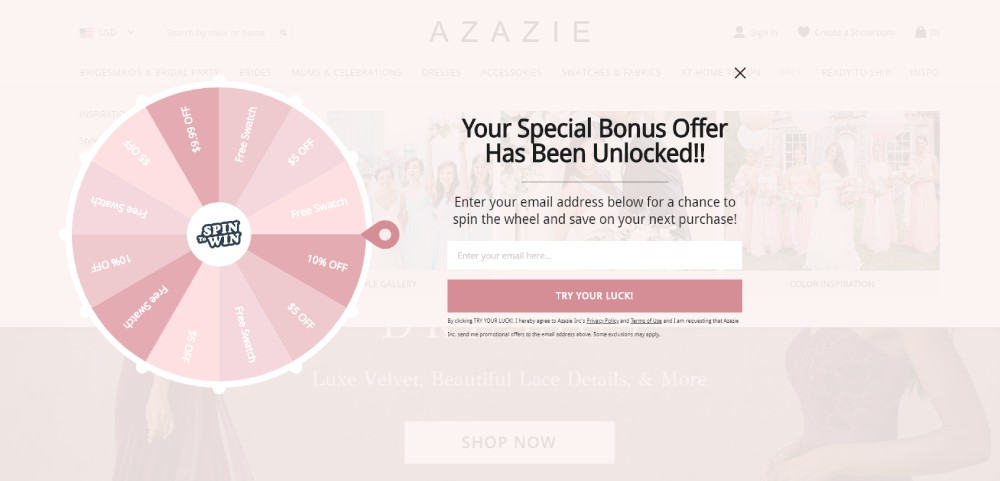 An Example for Customer Loyalty Program from 'Azazie' Store for Bridesmaid Dresses & Wedding Dresses