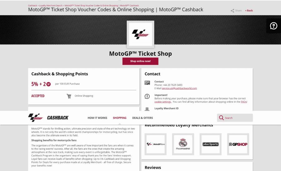 MotoGP Cashback Loyalty Program