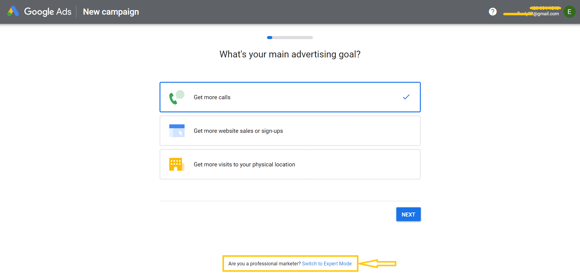 Step 1 to Set a Google Ads Account