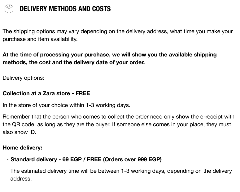 Free shipping from Zara