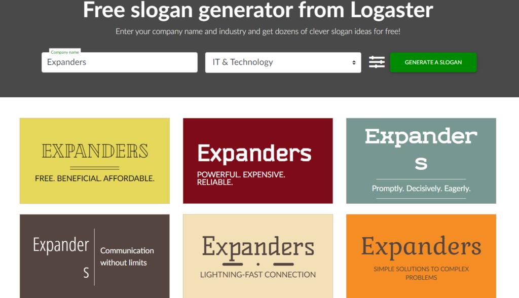 logaster slogan maker example